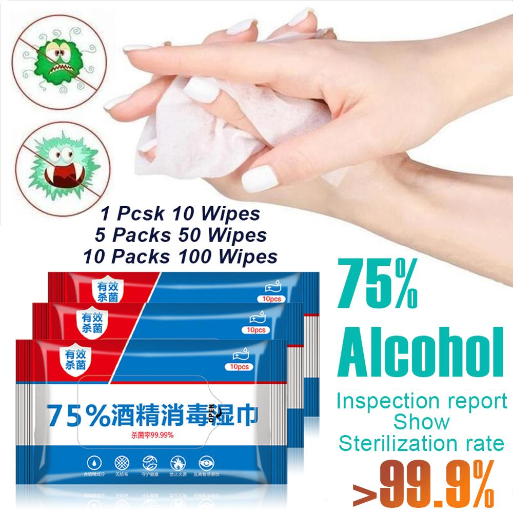 50pcs/set Hand Wipe Disinfection Wipes 75% Alcohol Disposable Disinfection Wipes Home Hygiene Cleaning Wipes
