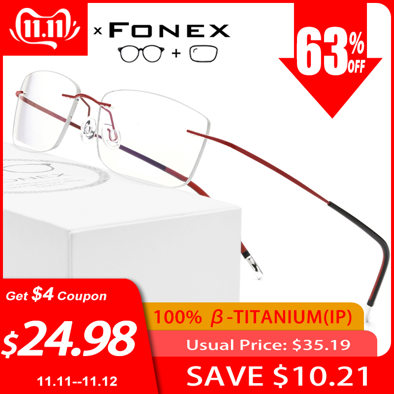B Titanium Rimless Frameless Prescription Glasses Men Women Ultralight Eyeglasses Myopia Optical Frame Screwless Eyewear 9203