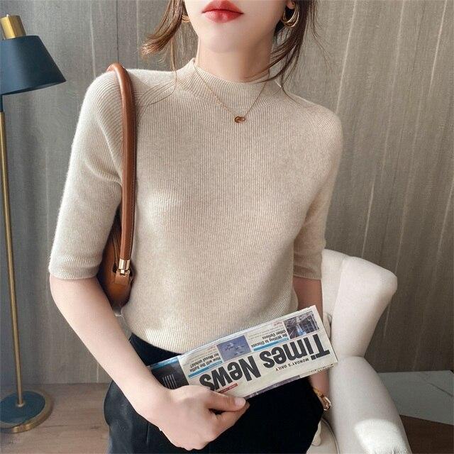 Women's Cashmere Turtleneck Short Sleeve Knitted Pullover Tee Base Wool Cashmere  Sweater Women Jumper 5