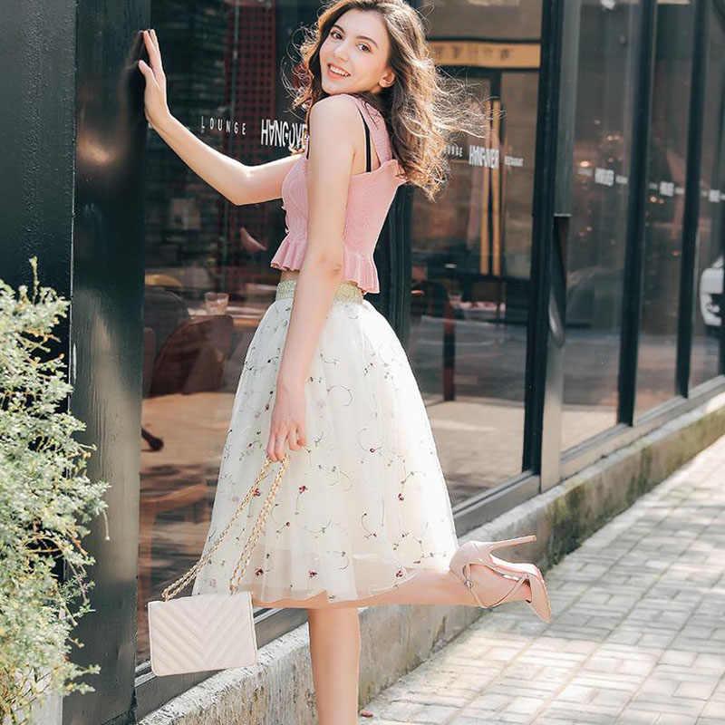 אופנה Midi Mesh טול חצאיות נשים בציר קפלים פרחוני רקמה אלגנטי מסיבת כלה חצאית גבוהה מותן חצאית