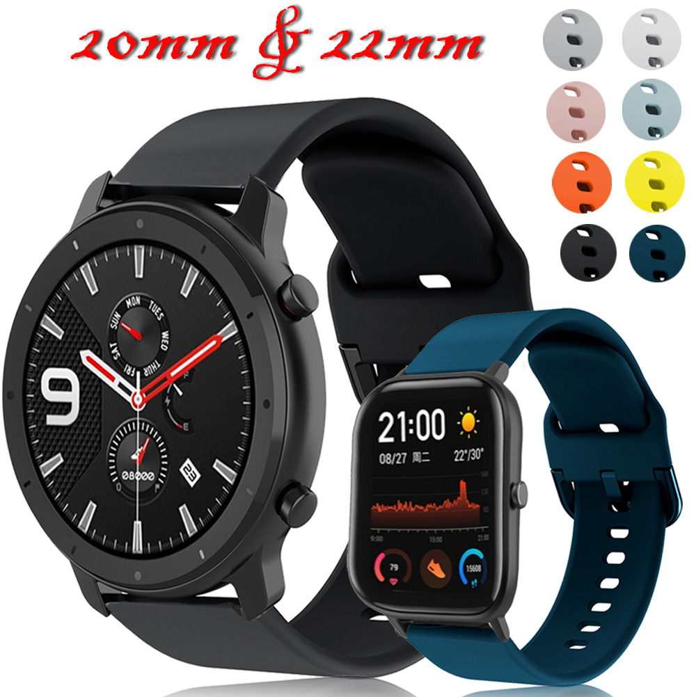 For Xiaomi Huami Amazfit Gts 20mm Watch Strap Silicone Pulseira Amazfit Bip ремешок Amazfit Gtr 47mm 22mm Watch Band Bracelet