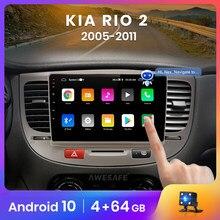 Reprodutor de vídeo multimídia de rádio do carro gps nenhum 2 ruído android 2005 2gb + 32gb awesafe px9 para kia rio 2 rio2 2011-10.0