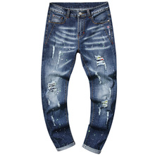Embroidery Hole Distressed Men Ripped Jeans 2019 Vintage Blue Slim Fit Casual Baggy Denim Skinny Pants