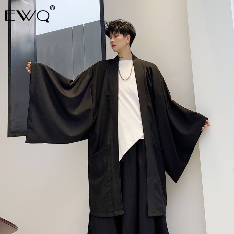 EWQ / Men's Overcoat 2020 New Wide Sleeves Loose Bat Sleeve Black Windbreaker Oversize Loose Coat Without Button Clothing 9Y168