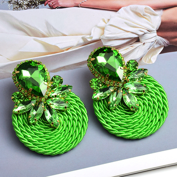 Colorful Crystal Handmade Round Earrings  3