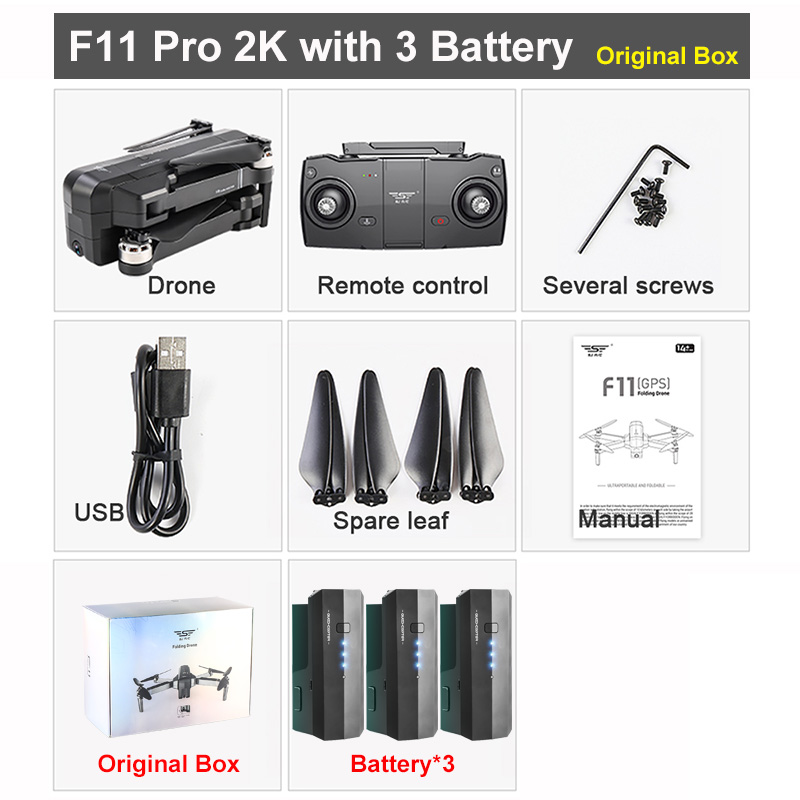 SJRC F11/F11 PRO GPS Drone With Wifi FPV 1080P/2K HD Camera Brushless Quadcopter 25 minute Flight Time Foldable Dron Vs SG906 A3