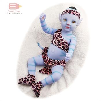 40cm soft silicone vinyl rebron baby doll non toxic safe toy handmade lifelike newborn baby toy doll for children girls playmate New Bebe Reborn Doll 20 Inches Night Light Soft Full Silicone Vinyl Body Lifelike Blue Baby Doll Kit Girl Gift Toy for Children