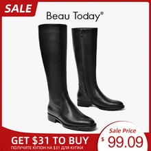 High-Boots Side-Zipper Knee Genuine-Cow-Leather Women Winter Fashion Beautoday 01214