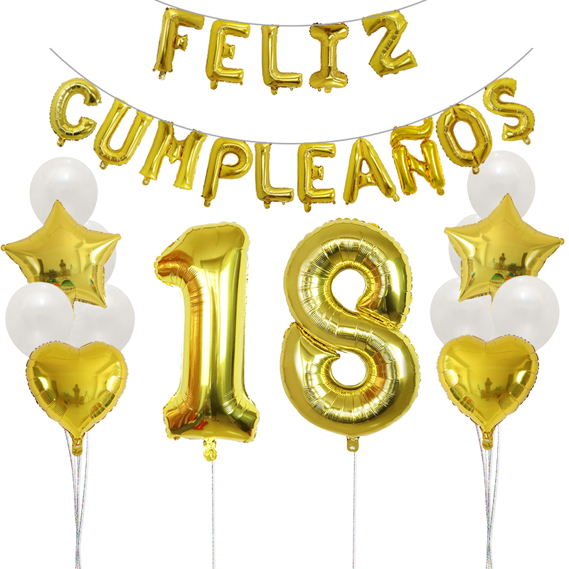 1set Gold Spanish Happy <font><b>Birthday</b></font> Balloons 30inch Number Foil Balloons 18 20 <font><b>30</b></font> 40 50 <font><b>Birthday</b></font> Party <font><b>Decoration</b></font> Latex Globos image