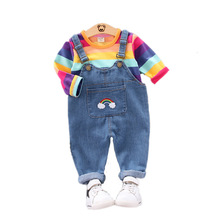 Autumn Children Baby Color Clothing Sets Kid Boy Girls Striped Long Sleeve Infant Angel Overalls Suit Toddler Clothes Tracksuits dbj7272 dave bella summer baby boy s lion print clothing sets children infant toddler suit kid s high quality clothes