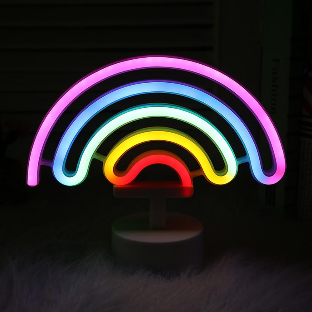 Colorful Rainbow LED Neon Sign Battery Powered Creative Neon Night Light Christmas Light Wall Lamp Decoration LED Neon Tube