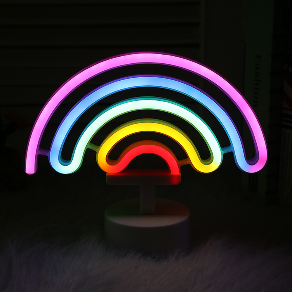 Colorful Rainbow LED Neon Sign Battery Powered Creative Neon Night Light Christmas Light Wall Lamp Decoration LED Neon Tube image