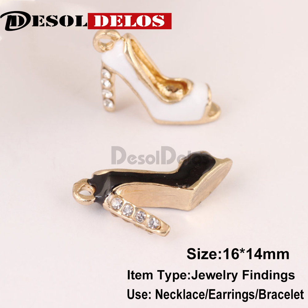 New 10Pcs DIY Fashion Charms Gift Enamels Rhinestone High Heels Alloy Pendant Making Bracelet Necklace Jewelry Accessories 2019 in Charms from Jewelry Accessories