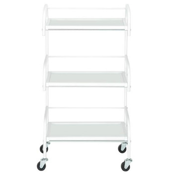 [US-W]Three-Layer Beauty Tool Cart With Glass White 4 Wheels Easy to Move and Operate Hair Salon Instrument Storage Cart resin kits 1 35 stalingrad s 3011 russian refugees with cart set indue 4 figures cart horse and possess free shipping