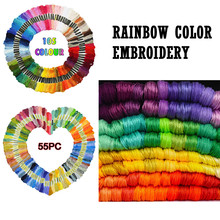Rainbow Color Embroidery Cross Stitch Threads Bracelets Crafts Floss 55pc 105pc Cross Stitch Cotton Embroidery Thread tanie tanio CN(Origin) Yes( 50 Pcs) Dyed Polyester Cotton Abrasion-Resistant
