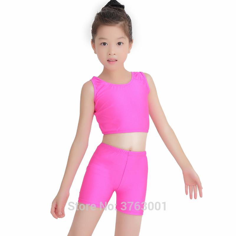 Kids Ballet Leotard Gym Wear Two-piece dance suit for girl Spandex Children\'s cheerleaders Vest high waist shorts two sets Tight
