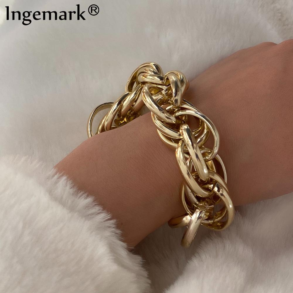 Ingemark Punk Twisted Chunky Chain Bracelets for Women 2020 Fashion Boho Big Thick Iron Link Bracelet Bangles Men Hand Jewelry