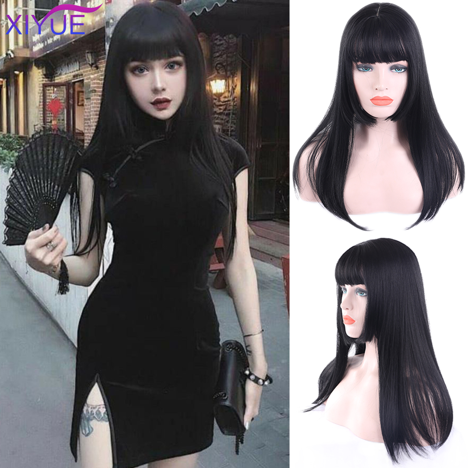 Black Long Straight Wig With Bangs Synthetic Hair Wigs For Women Long Wigs For Cosplay Heat Resistant Extension Wigs Daily Wear