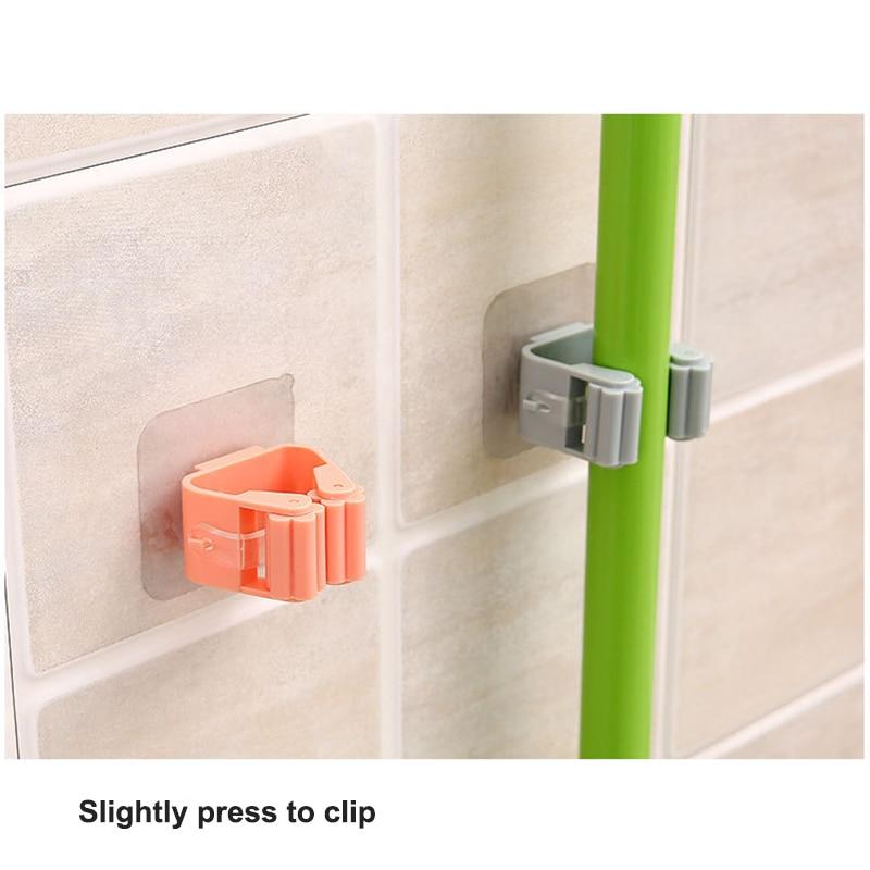 Mop Rack Wall Bathroom Broom Holder With Multipurpose And Used Behind Doors Kitchen Storage Tool 8