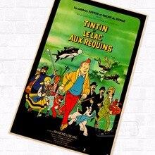 Aux Requins TinTin dibujos animados cómic Vintage Retro Kraft recubierto póster decorativo DIY pared lienzo pegatina hogar Bar arte carteles Decoración