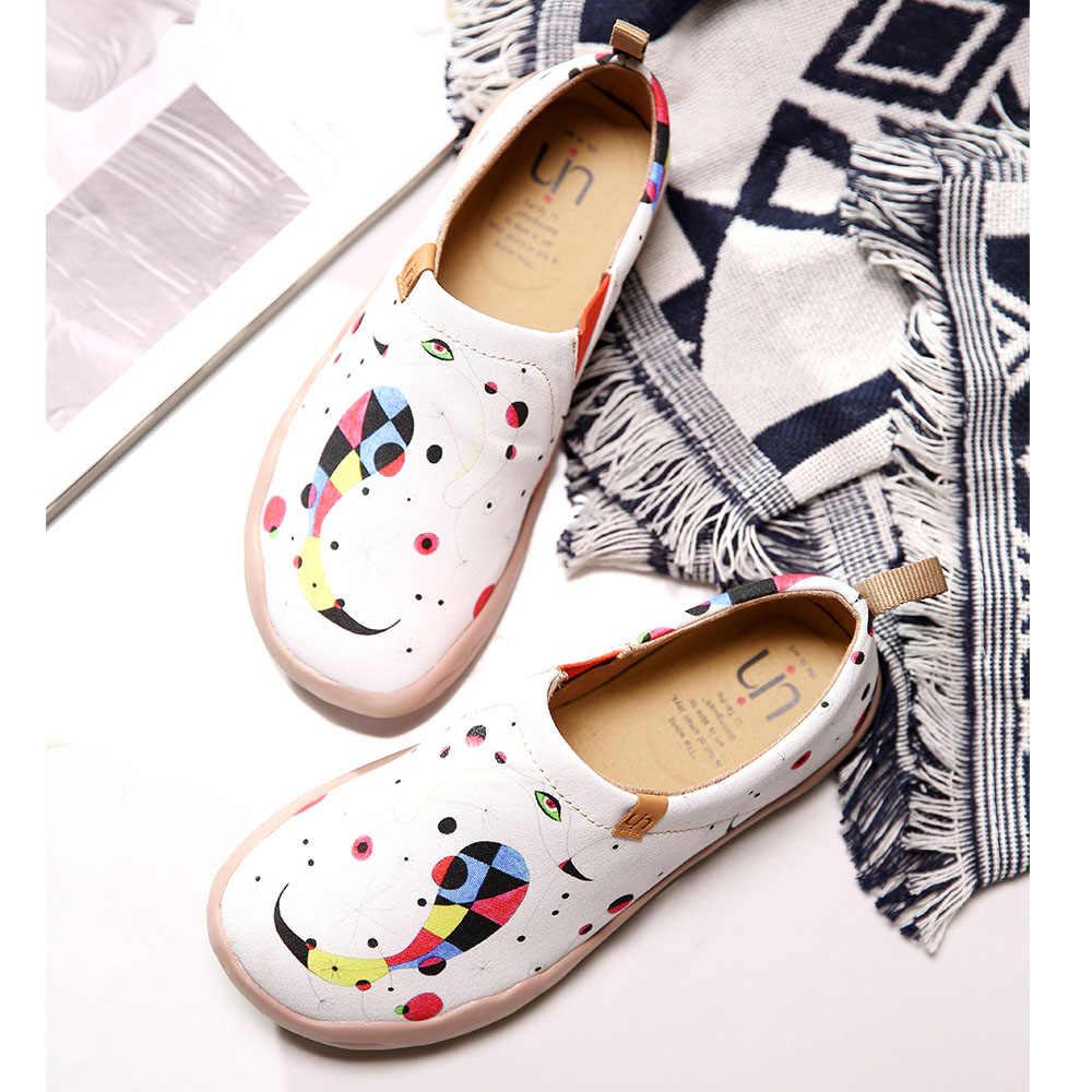 UIN ayakkabı kadın sanat el-boyalı geniş kadın ayakkabı beyaz rahat kanvas ayakkabılar bayanlar yürüyüş Sneakers hafif konfor ayakkabı