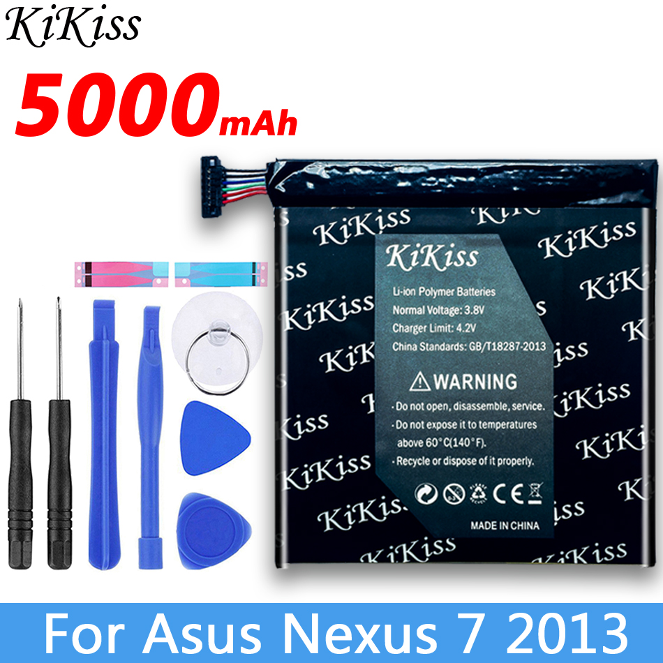 Original KiKiss Battery For Asus Nexus 7 II 2 2nd 2013 ME57K ME57KL K00 5000mAh C11P1303 Tablet Battery For Asus Nexus7 2013 image