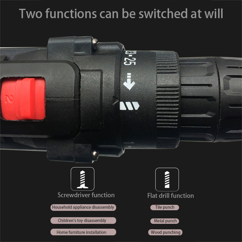 Image 2 - 36VF 1600rpm 50Nm 25 speed Torque Double Speed Cordless Electric Drill Screwdriver With LED lighting And drill bit-in Electric Drills from Tools on