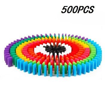 100/300/500pcs Children Color Sort Rainbow Wood Domino Blocks Kits Early Bright Dominoes Games Educational Toys For Kid Gift - 500pcs