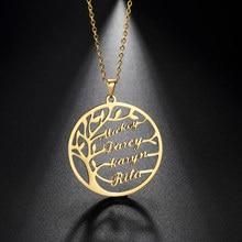 Sipuris nome personalizado colar árvore da vida de aço inoxidável família árvore colar para mulher personalizado carta jóias presente da família