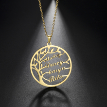 Sipuris Custom Name Necklace Tree Of Life Stainless Steel Family Tree Necklace For Women Personalized Letter Jewelry Family Gift