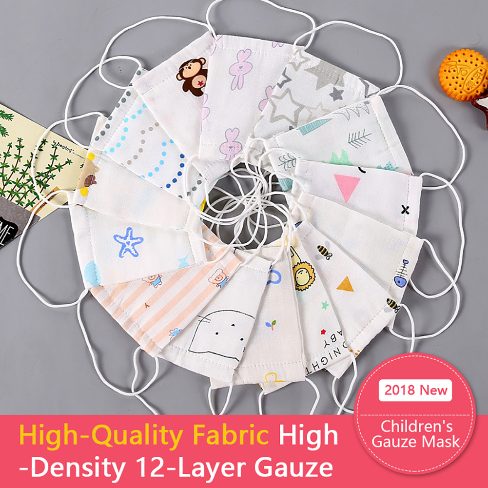 10Pcs Baby Mouth Mask Adjustable Anti Dust Face Mouth Mask Print Pattern 12 Layers Gauze Cotton Face Mask For 0-5M Hot M16