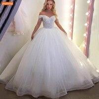 White Beaded Wedding Dress 2020 Off Shoulder Lace Up Tulle Ball Gown Bridal Dresses Long Ivory 2020 Vestido De Noiva Custom Made