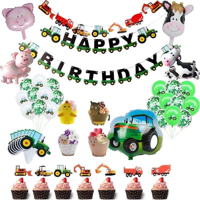 Тема фермы, Зеленый трактор, надувные воздушные шары, топпер для торта, украшение для дня рождения, детский день рождения, экскаватор, баннер...