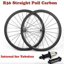 Juego de ruedas de bicicleta de carretera de carbono, perfil de 35/38/45/50/55/75mm con interno para ruedas de bicicleta sin tubo 700C con buje recto R36