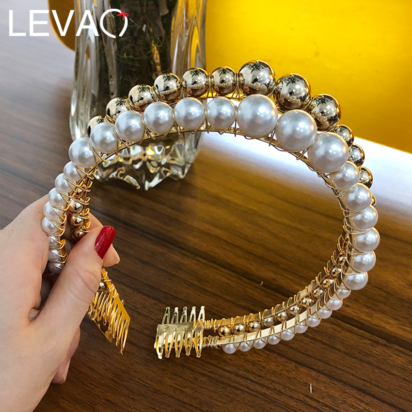 Levao 3cm Big Pearls Headband Women Wedding Bridal Hair Accessories Hairband Hair Hoop Girls Headwear Wedding Pearl Jewelry