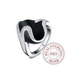 Bagues en Argent Sterling 925 de haute qualité pour femmes et hommes, Bague ovale noire en cristal Cz Infinity, 925