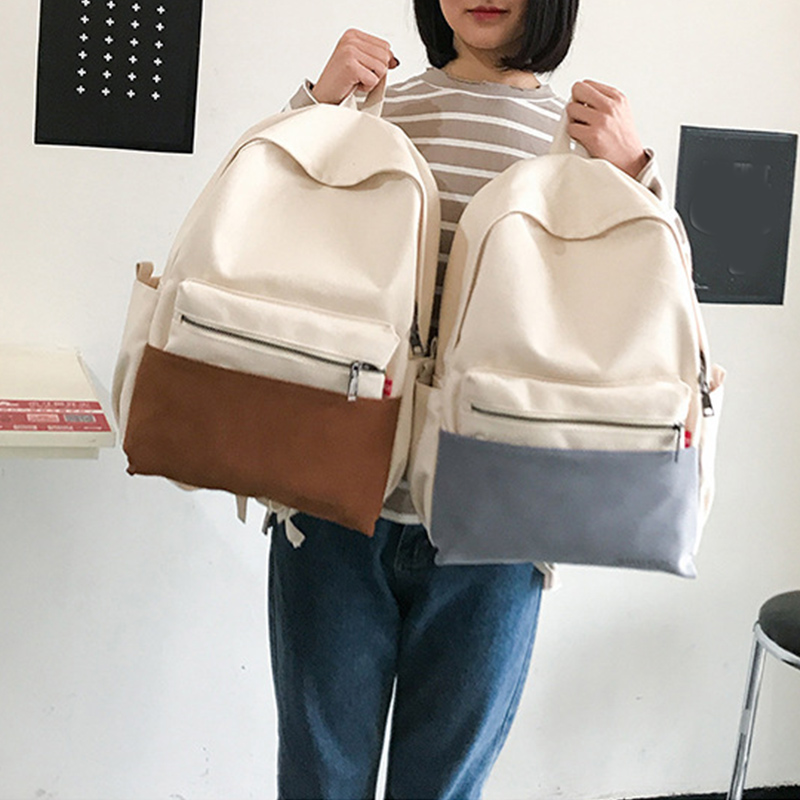 Panelled Color Female Students School Bags Casual Canvas Chic Women Backpacks College Style High Quality Girls Travel Daypack