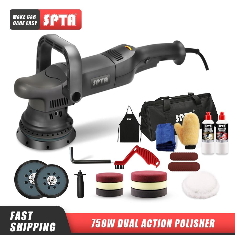 SPTA 5inch 750W Dual Action Polisher Orbit 15mm Auto Polisher DA Car Polisher Home DIY Polisher with Waxing Polishing Pads Set