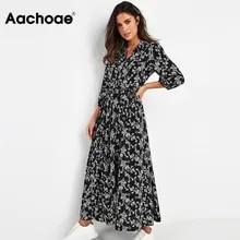 Shirt Dresses Robe Collar Turn-Down Three-Quarter-Sleeve Floral-Print Aachoae Women Boho