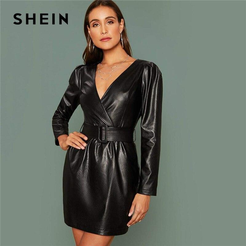 SHEIN Glamorous Schwarz Meßhemd Wrap Belted PU Leder Kleid Frauen Herbst Winter Lange Hülse Hohe Taille Einbau Bleistift Kurze Kleider