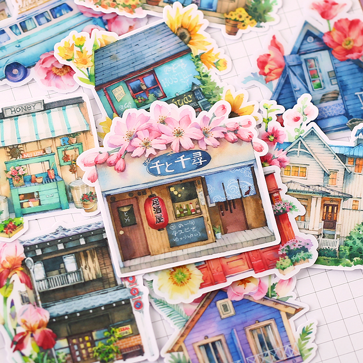 15PCS Fairytale Chalet Stickers Crafts And Scrapbooking Stickers Kids Toys Book Decorative Sticker DIY Stationery