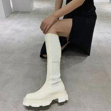 Prova perfetto branco feminino coxa botas altas cor sólida couro genuíno dedo do pé redondo deslizamento-no calcanhar médio fundo grosso sapatos casuais