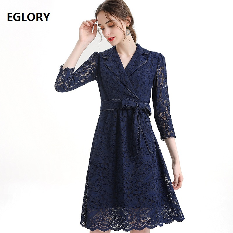 High Quality Blue Yellow Lace Dress 2020  Spring Style Women Notched Collar Bow Belt Patchwork Slim Fitted Elegant Office Dress