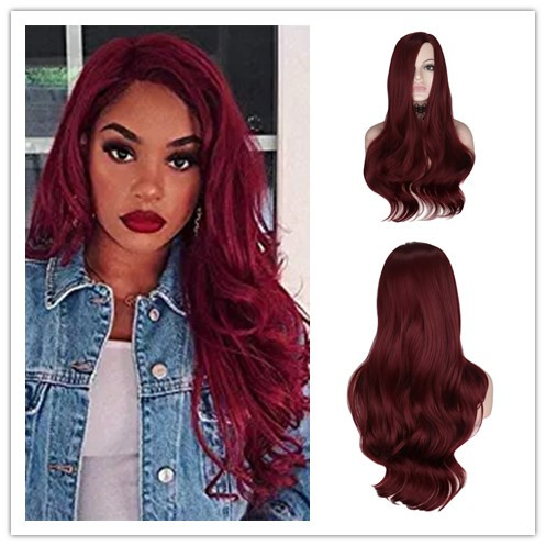 WHIMSICAL W Long Wavy Red Auburn Wigs Synthetic Wig For Women Natural Looking Side Part Heat Resistant Breathable Hair