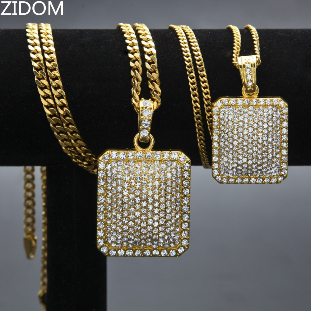 Men Army Style Necklace Gold And Silver Plated Full CZ Iced Out Charm Dog Tag Pendant Necklace Hip Hop Bling Bling Jewelry
