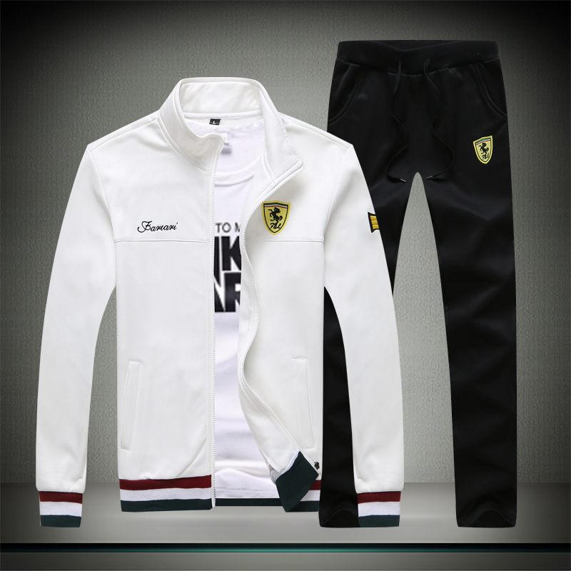 Spring And Autumn New Style Men Stand Collar Ferrari Jacket Youth Casual Sports Fashion Large Size Set Men's