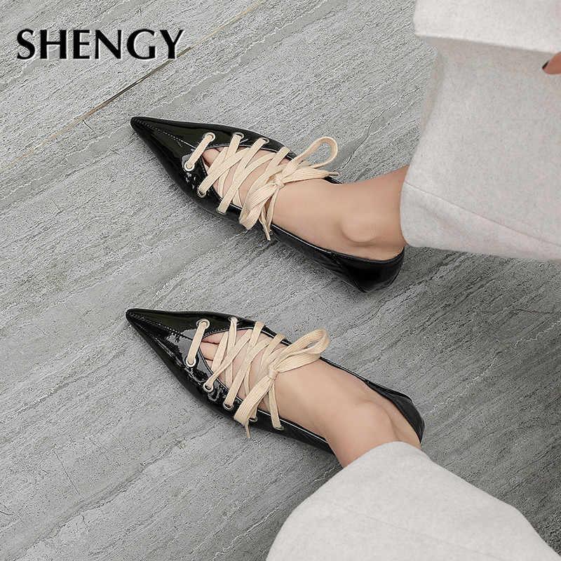 Sapatos de salto baixo ponteiro cruzado, calçado feminino gladiador com alça cruzada, sapatos de escritório, primavera e verão 2020