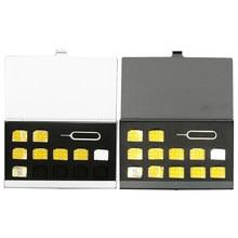 Caixa de armazenamento portátil de alumínio do cartão do sim do pino micro para a apple samsung 56 caixa de armazenamento do cartão do sim da memória do telefone protetor