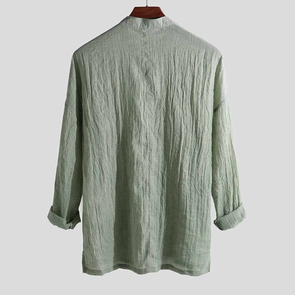 Thời Trang Mới Nam Thoáng Khí Áo Thu Rời Nguyên Chất Vải Lanh Và Cotton Dài Tay Áo Quá Khổ Áo Sơ Mi Dropshipping