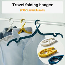 3 Colour 3pcs/set Portable Folding Plastic Clothing Coat Hanger Space saving Hangers Travel Foldable Holder